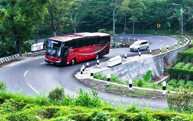bus pariwisata manhattan in action