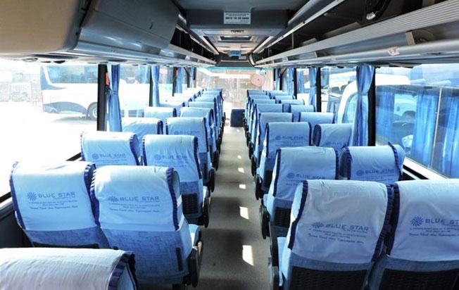 sewa bus pariwisata blue star interior formasi kursi