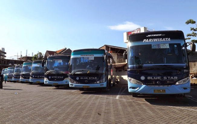 sewa bus pariwisata blue star parkir bus