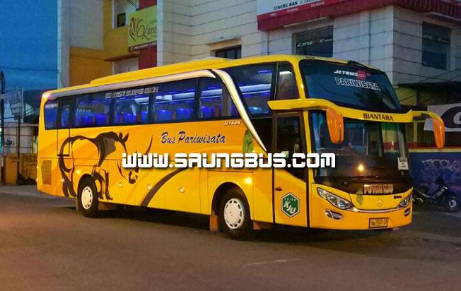 Exterior bus pariwisata putra KJU view samping saungbus.com jakarta