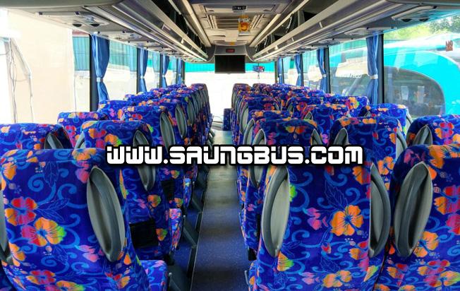 interior depan big bus pariwisata Saner holidays jakarta